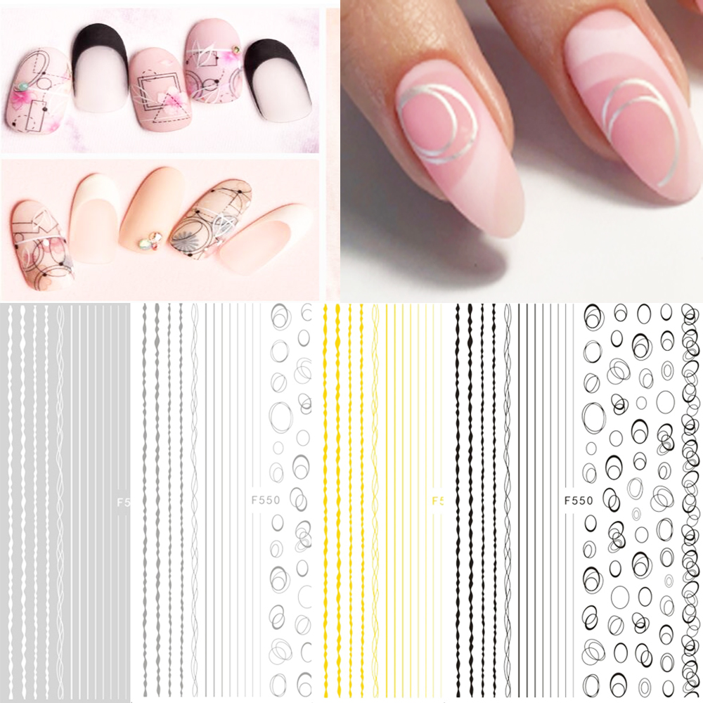 3D Nail Art Sticker Gold Silver Circle Nail Stickers Hollow Geometry Line Adhesive Slider Sticker Star Moon Decals Z0158