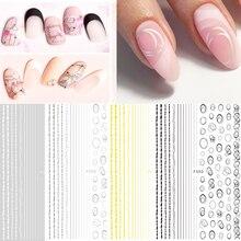 Adesivo 3d para arte em unhas, adesivo para arte em unhas, ouro, prata, círculo, oco, linha geométrica, deslizante, estrela, lua, decalques z0158