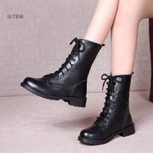 Women Boots British Style Classic Women Motorcycle  Boots Punk Bandage Autumn Waterproof Shoes Black Shoes plus size 35-42