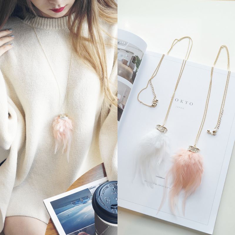 White Pink Featers Long Necklace Womens Sweater Fashion Jewelry Necklace & Pendants Gift for Christmas Day N1015277