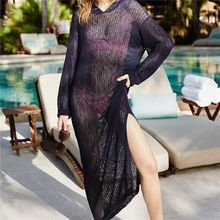 Women Lace Up V Neck Long Sleeve Crochet Swimsuit Cover Dress