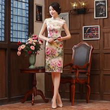 New Summer Dress Chinese Traditional Dress Authentic Silk Noble Cheongsams Short Sleeve Print Long Qipao Dresses