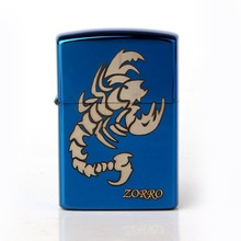 Blue scorpion Chief Gas Cigarette Lighter Cigarettes Kerosene Flint Petrol Vintage Gasoline Lighter Oil Petrol Refillable