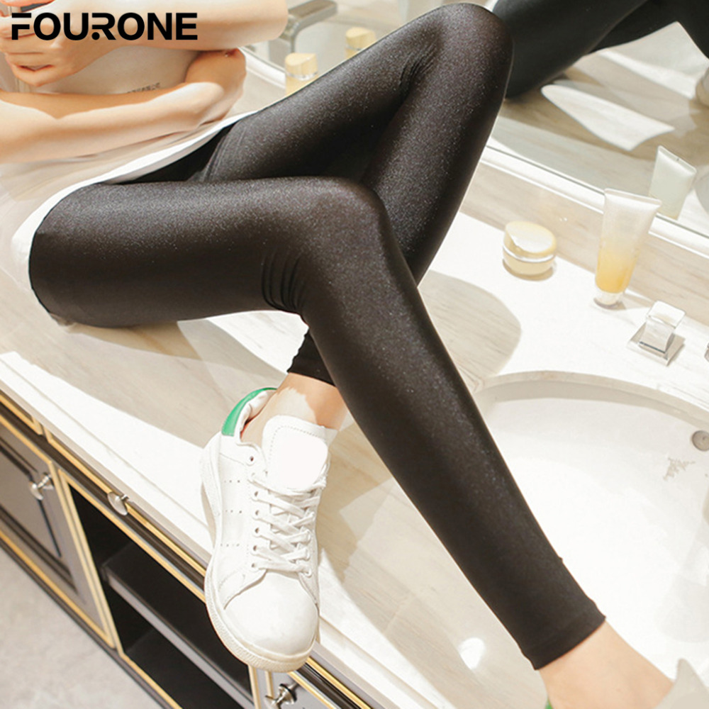 2017 Hot Sales Women Shiny Thin Tights Full Ankle Length Stretch Pants Basic Leggings