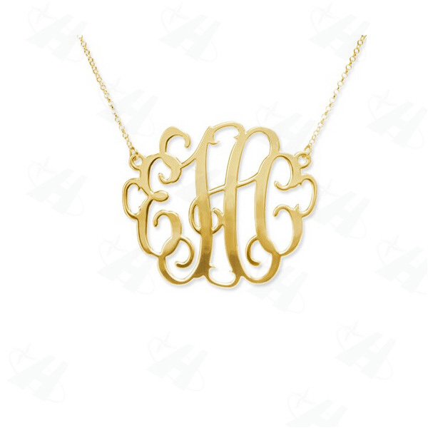 Custom monogram necklace fashion bold statement initial letter custom monogram necklace fashion bold statement initial letter pendant necklace gold color necklace for mozeypictures Images