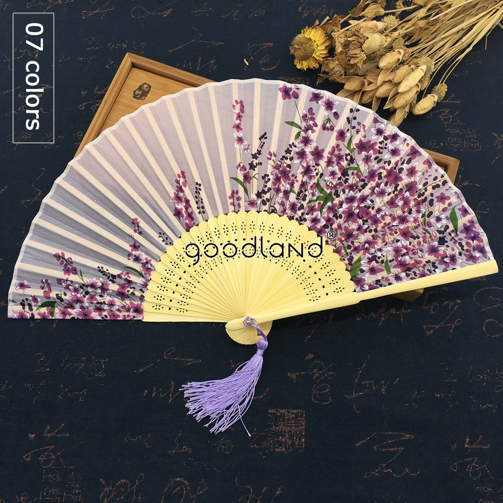 Free Shipping 1pcs High Quality Chinese Dhyana Style Flower Blossom Purple Pink Blue Silk Bamboo Hand Fan Wedding Favor