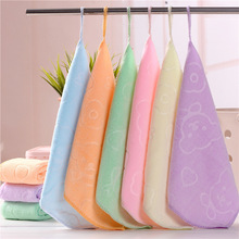 Candy Color Microfiber Kindergarten Square Children's Washing Hands Cleansing Soft Quick-drying Small Towel Hook Up Handkerchief such small hands