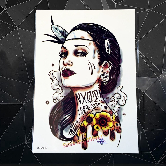 New Punk Smoking Women Design Body Arm Tattoo Old School Style