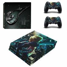 Final Fantasy VII 7 Remake PS4 Pro Haut Aufkleber Aufkleber für PlayStation 4 Konsole und 2 Controller PS4 Pro Haut aufkleber Vinyl