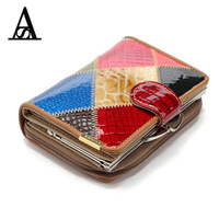 Fashion famous brand New Genuine Leather Women Wallet Ma'am Coins purse money Card Holder patchwork gift Purse Wallet clutch bag