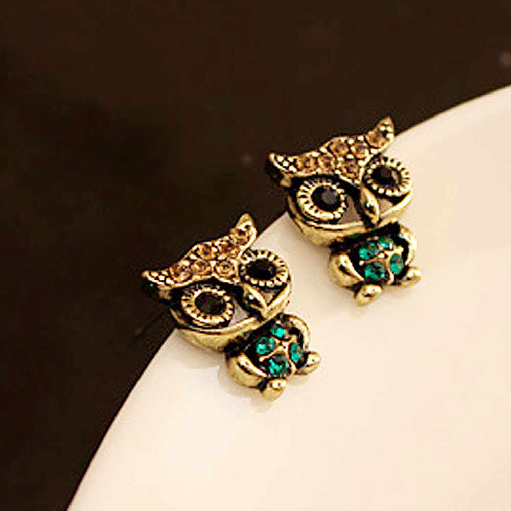 Fashion Style Owl Rhinestone Cute Vintage Ear Stud Earrings Wedding  Fashion Girl Gift Beautiful Accessories Rhinestone  Girl