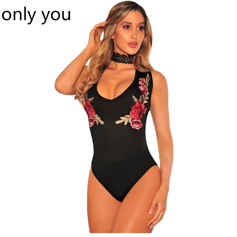ONLY YOU Bodysuits Women Sexy Black Low Neck Embroidered Rose Choker Skinny Jumpsuit Romper Bodycon 2017 Summer Shorts LC32132