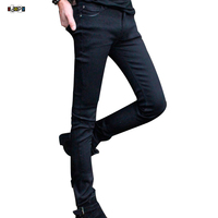 Funky Mens Fashion Pencil Pants Super Skinny Solid Black Elastic Washed Faded Slim Fit Long Jeans Trouser For Young Men