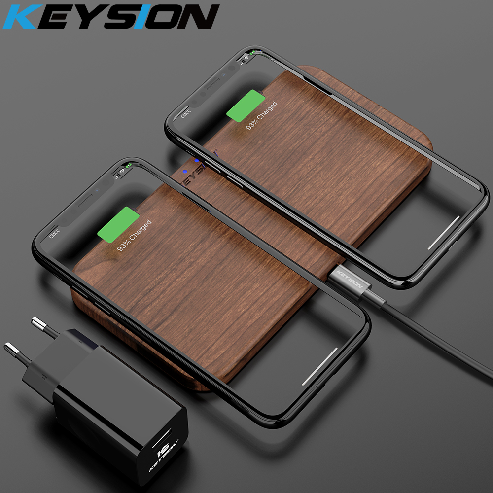 KEYSION Dual Wireless Charger 5 Coils Qi Fast Charging Pad Compatible For IPhone 11 Pro XS Max Samsung S10 S9 AirPods Xiaomi Mi9