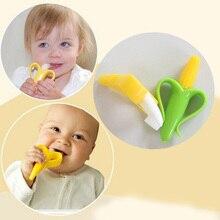 Безопасного кукурузы экологически детского зубные гибкие прорезыватель банан обучение кольца зубная