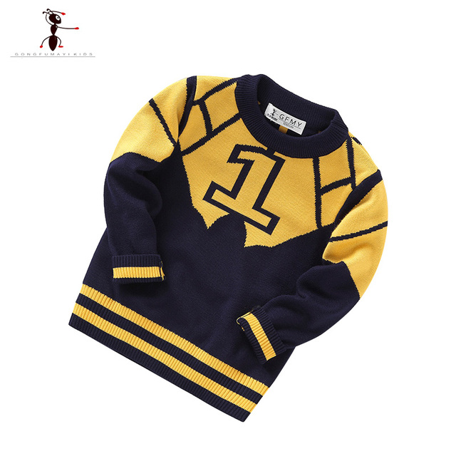 Gray Blue Character Full Length Casual Children Sweaters Famous Brand O-neck Kids Clothes Sueter Infantil 2390