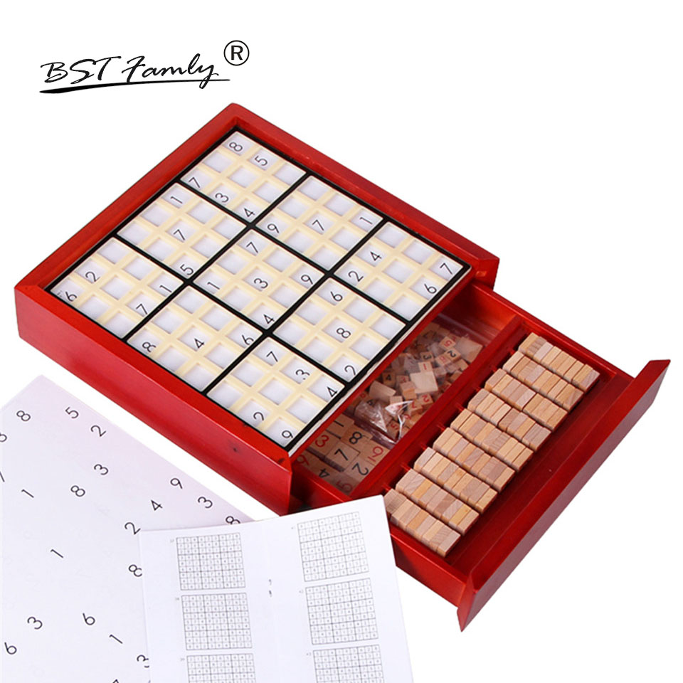 BSTFAMLY Children Sudoku Chess Beech Wooden with Drawer 24*24*5.5cm 81Pcs/Set Table Puzzle Game Kids Toy Interesting Gift S04