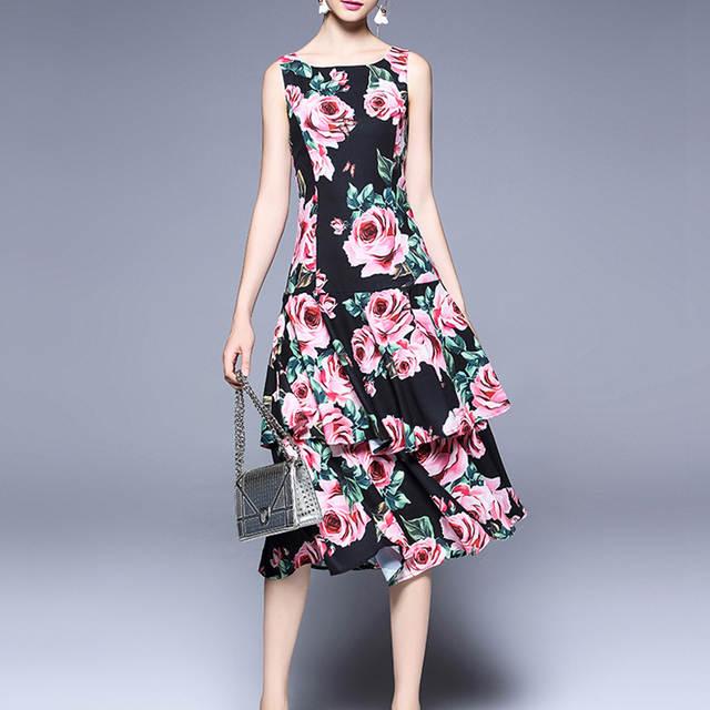 1b7dd1dd70b Online Shop Roiii 2018 Floral Dress Summer Women Viscose Print Ball Gown  Ruffles O Neck Girl Dress Swing Tank Cub Cake Female Party Vestidos