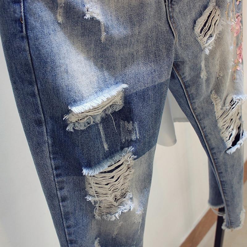 Pantalones 4xl Azul Flojo 3xl Flores Bordado Haren Denim Ripped Mujeres Estiramiento Size Verano 2018 Plus Jeans zxqfU