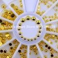 2017 NOVA Rodada de ouro metall 3d decorações da arte do prego pregos acessórios suprimentos unhas manicure ferramentas de design da roda 2mm 3mm