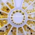 2017 NUEVA Ronda de oro metal 3d decoraciones del arte del clavo clavos de las ruedas accesorios suministros de uñas de manicura herramientas de diseño 2mm 3mm