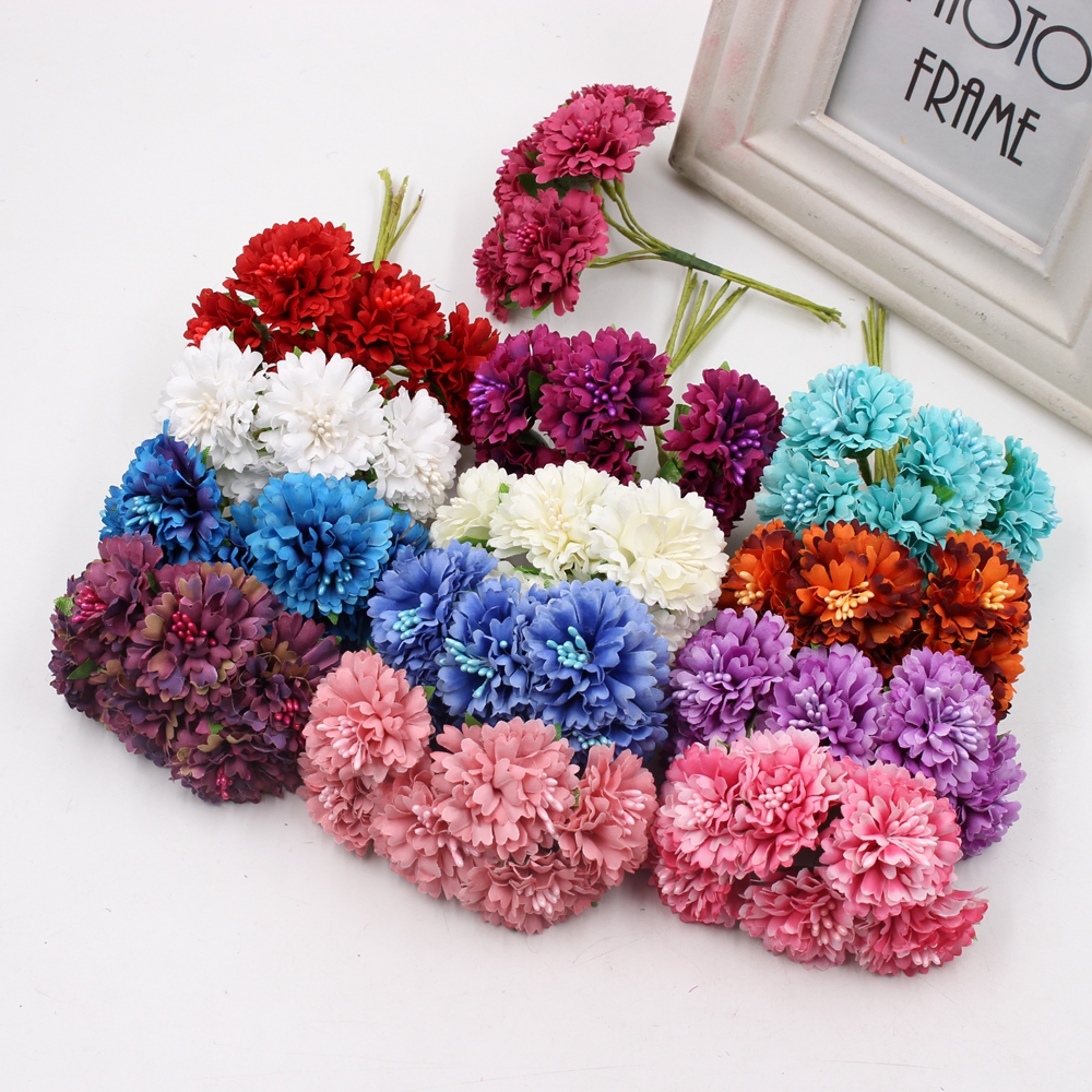 6pcs silk dendranthema artificial flower for wedding party for Artificial flowers for home decoration online