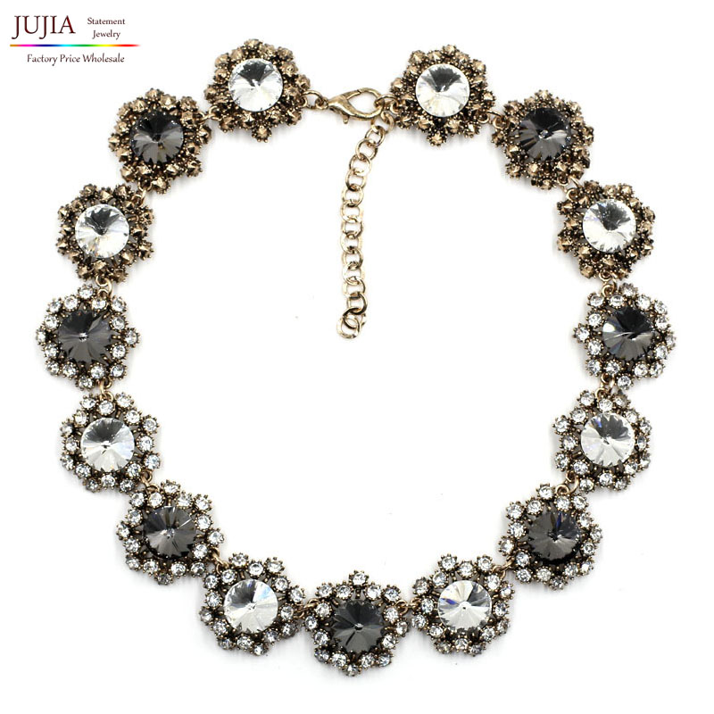 ⊹2017 nueva J diseño woment collar babero moda burbuja moda Crystal ...