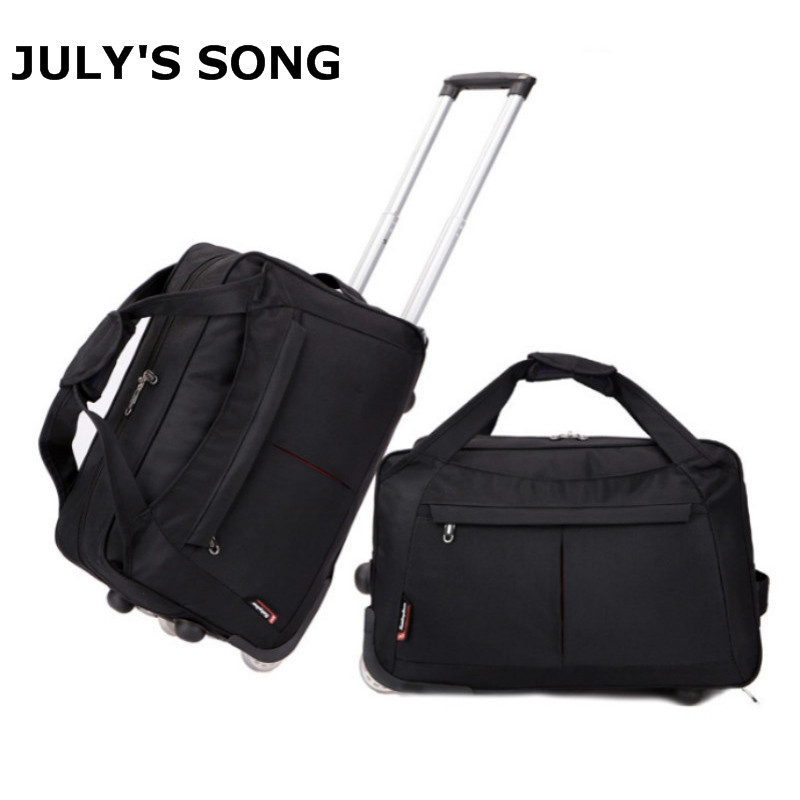 все цены на 18 Inch Men Women Fashion Portable Travel Boarding Bag Split Roller Luggage Bag Rolling Duffel Handbag Carry on Bag Travel Bag онлайн