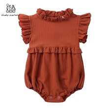 Newborn Baby Girl Ruffled Solid Color Sleeveless Ruffles Neck Romper Infant Jumpsuit Outfit Baby Kids Clothes For Girls цены
