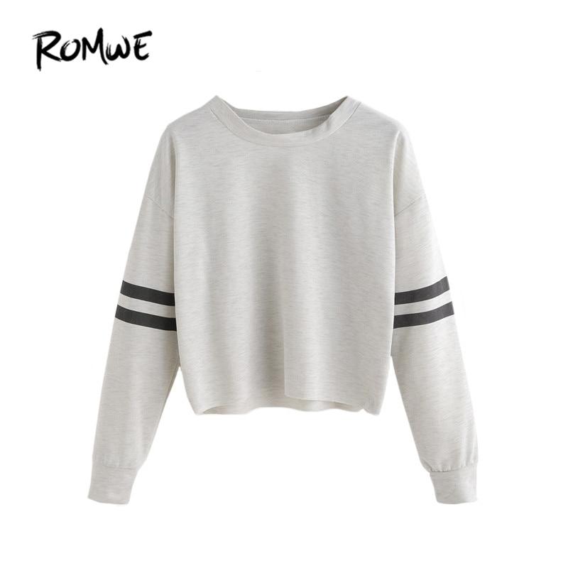 2c5fcfefb8641b ROMWE Women Ladies T shirt Long Sleeve Crop Top Autumn Clothes Women Drop  Shoulder Varsity Striped Sleeve T-shirt