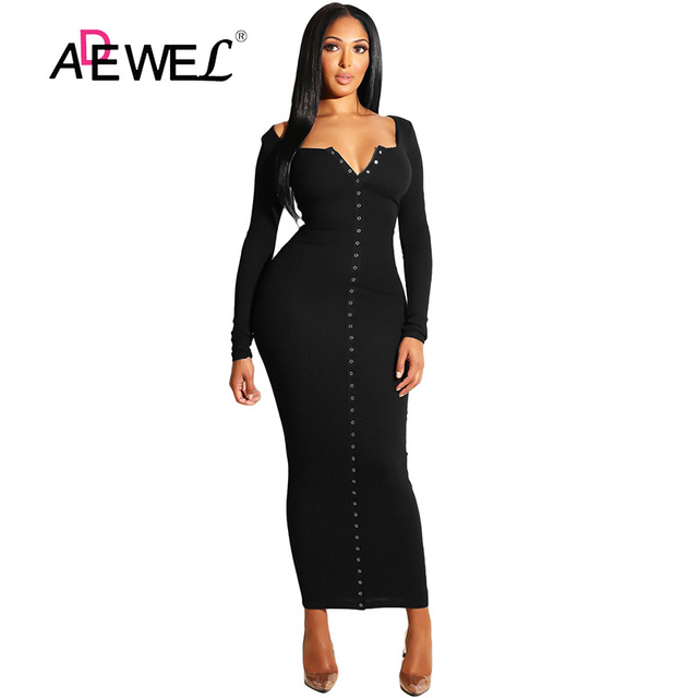 ADEWEL 2018 Sexy Yellow Long Sleeve Bodycon Party Maxi Dress Women Casual Slim Snap Button Ribbed Ankle Length Long Dress 2