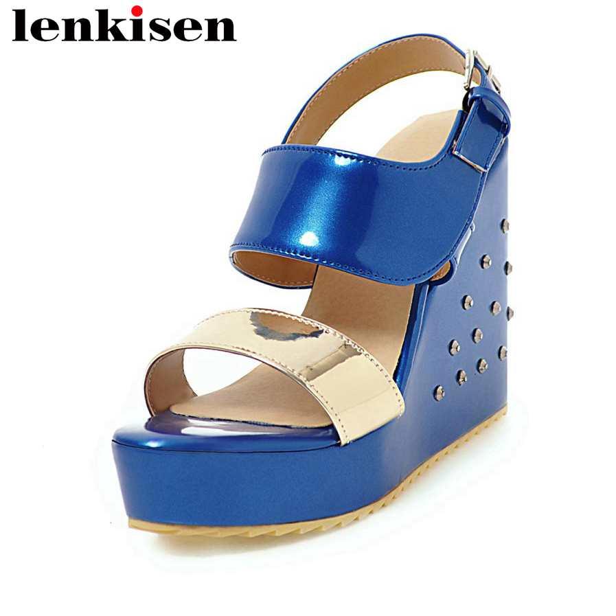 Lenkisen pu buckle strap mixed colors plus size rivets women sandals peep toe wedges super high bottom all-match cozy shoes L1f1