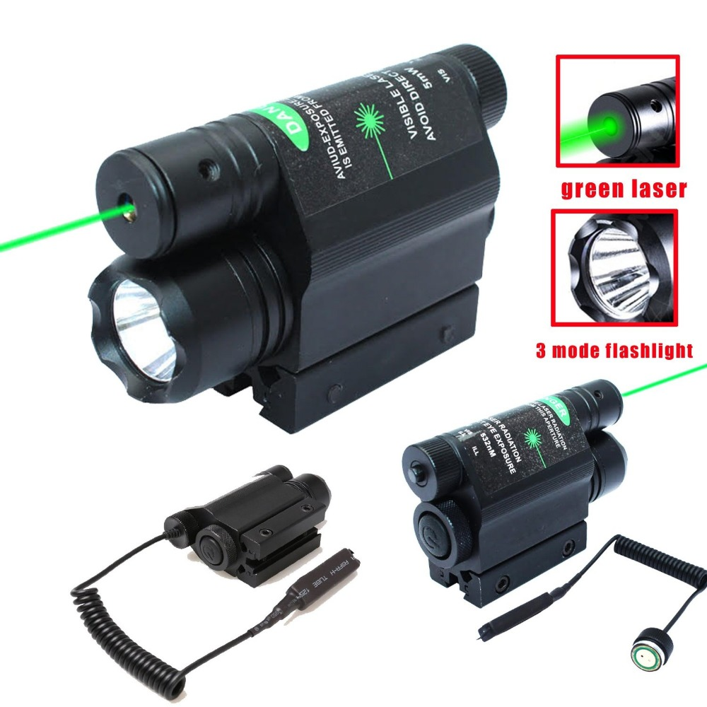 Tactical Hunting Combo 2-in-1CREE 600lm mode Flashlight Torch+ Green Laser Sight For Pistol цена