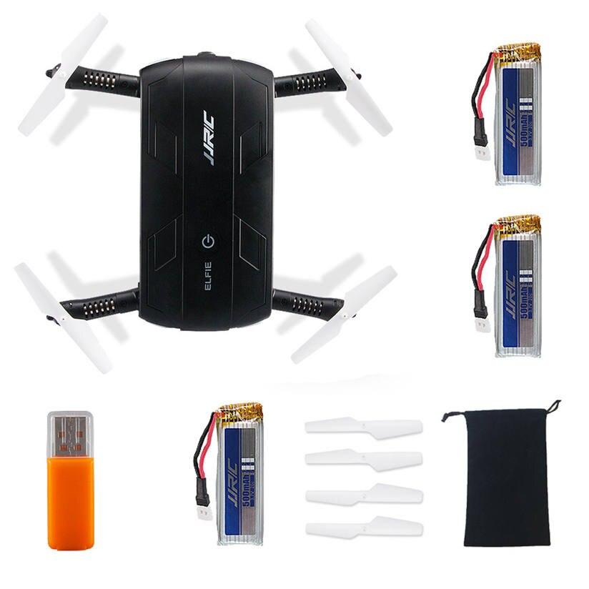 Rc mini drone jjrc h37 hd cámara wifi fpv rc selfie plegable + 3 unid 500 mah ba