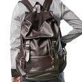 Unisex Vintage Drawstring Travel Backpacks Women Fashion PU Leather Backpack Men School Bags For teenagers Mochila Masculina