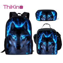 Thikin Moonlight Wolf School Bags for Boys 3pcs/set Students Supplies Preschool Backpack Bookbag With Lunch Boxes Satchel