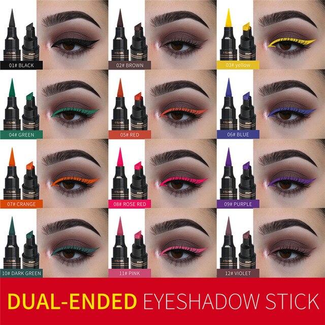 12Color Eyeliner Pencil Pigment Long Lasting Eye Liner Waterproof Eyes Makeup Seal Stamp Eyeliner Cosmetics Pen Black Brown Blue 1