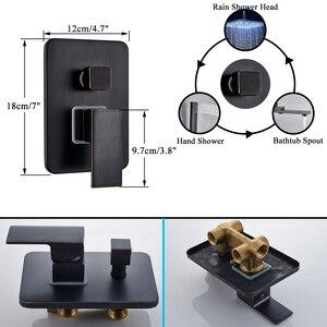 Image 4 - Bathroom Faucet Black Bronze Rain Shower Bath Faucet Ceiling Mounted Bathtub Shower Mixer Tap Bathroom Shower Faucet Shower Set