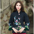 Vintage New Black And Red Jacquard Long Sleeve Heavy Embroidery Flowers Jacket Women Autumn New Fashion Winter Casual Coat