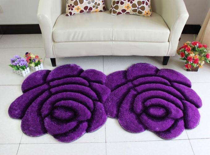 Объемный ворсистый круглый ковер с объемным цветком, коврики для дома, гостиной, свадьбы, тапеты, ворсистые ковры, толстые круглые ковры с цветочным рисунком - Цвет: double purple