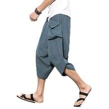 Горячая Распродажа летние льняные хип-хоп шаровары мужские повседневные свободные брюки шаровары со шнуровкой брюки джоггеры Размер M-5XL