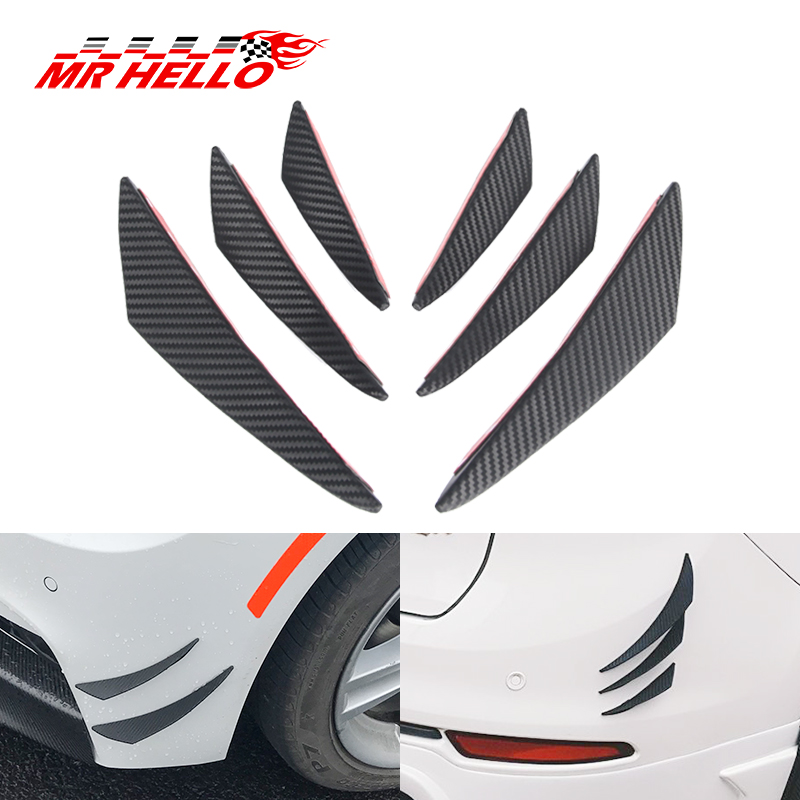 6pcs Carbon Fiber Style Car Front Bumper Lip Splitter Body Spoiler Canards New