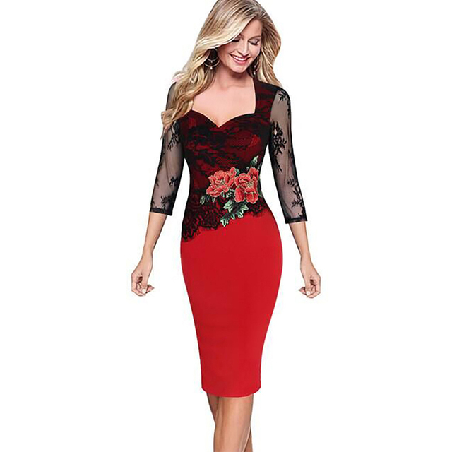 Women Floral Embroidered Translucent Lace Sleeve Dress Party Bridesmaid Wear Club Bodycon Sheath Pencil Dress