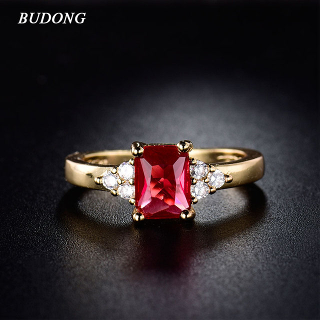 BUDONG Fashion Yellow Gold-Color Rings Radiant Cut Infinity Engagement Ring Rose Crystal  for Women Wedding Jewelry R089