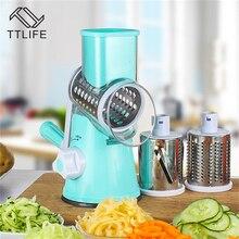 TTLIFE Round Vegetable Cutter Potato Carrot Grater Slicer with 3 Stainless Steel Chopper Blades Kitchen Tool Mandoline