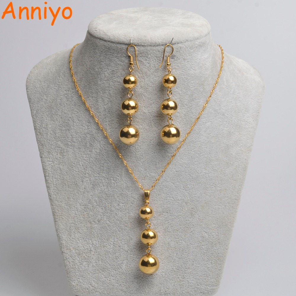 Round Earrrings PENDANT NECKLACE Gold Color Jewelry Set