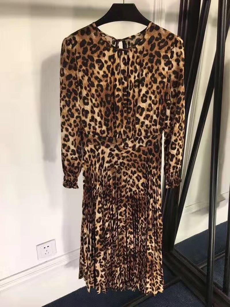 Femmes Pour Robe 2019 Léopard Motifs Drapée Printemps Manches À Femme Élégante Nouvelle Longues Drapé Mode qww8t1a