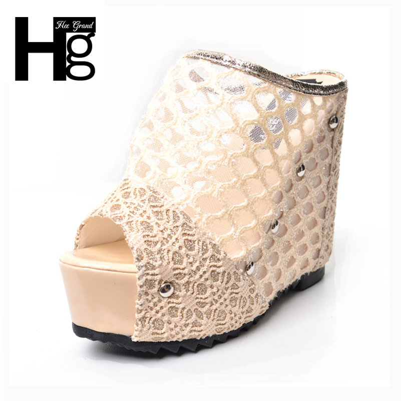 HEE GRAND Wedges 2017 Summer Lace Shoes Woman Slip On Platform Casual Mesh Women Slippers XWZ4017 hee grand 2017 gladiator sandals summer platform shoes woman slip on creepers rhinestones casual wedges women shoes xwz3547