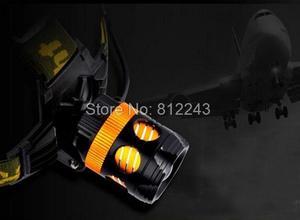 Image 4 - Waterproof LED Head Light Headlamp 2 LEDs LED Headlight Blue/Yellow Fishing Flashlight Torch Head Lamp + Charger + 18650 Battery