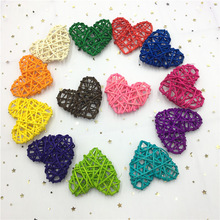 10Pcs/Lot 7CM Colorful Rattan Heart Sepak Takraw DIY Ball Home Garden/Birthday/Wedding Party Decoration Supplies